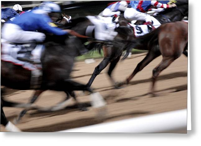 Equus Caballus Greeting Cards - Horse Racing Greeting Card by Johnny Greig