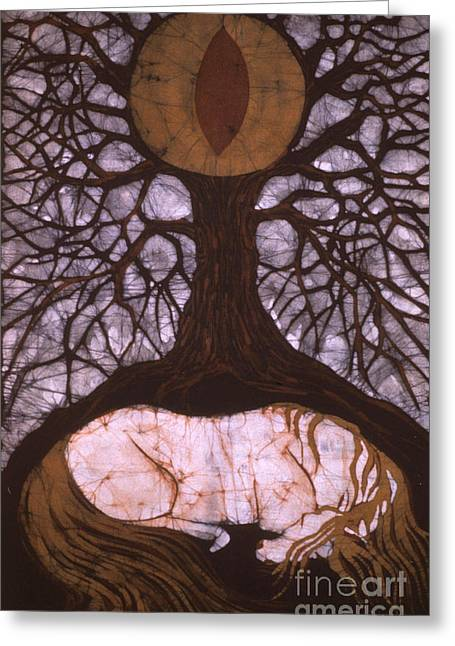 Emergence Tapestries - Textiles Greeting Cards - Horse Sleeps Below Tree of Rebirth Greeting Card by Carol  Law Conklin