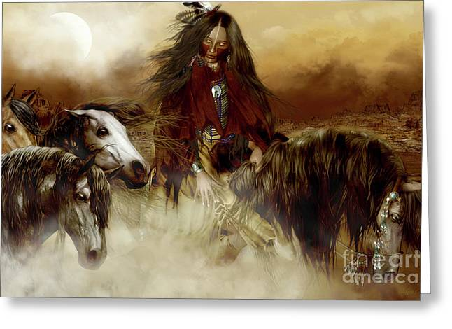 Historical Pictures Greeting Cards - Horse Spirit Guides Greeting Card by Shanina Conway