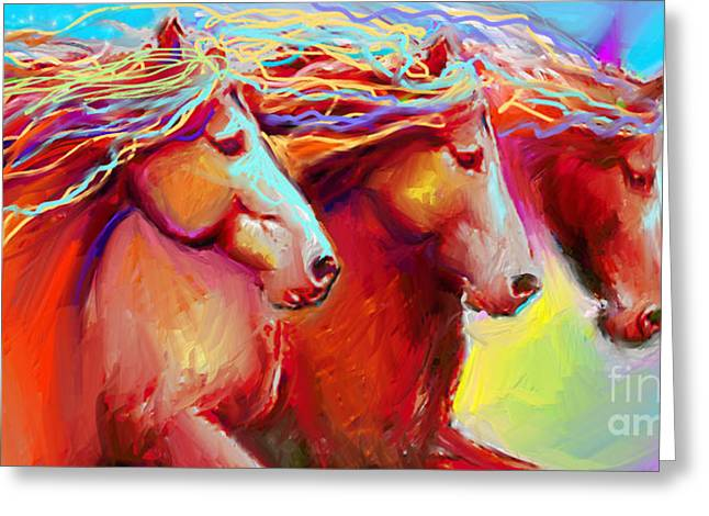 Contemporary Horse Greeting Cards - Horse Stampede painting Greeting Card by Svetlana Novikova