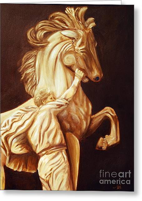 Traditional Art Sculptures Greeting Cards - Horse Statue Greeting Card by Nancy Bradley