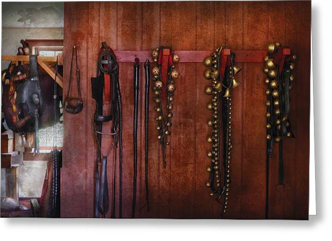 Horse Trainer - Jingle Bells Greeting Card by Mike Savad