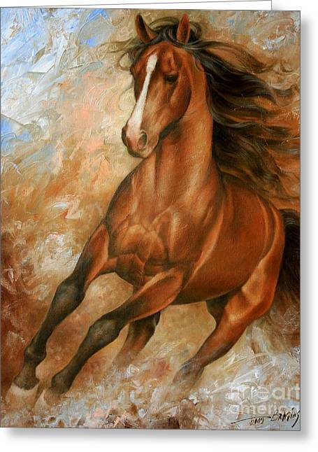 Horses Paintings Greeting Cards - Horse1 Greeting Card by Arthur Braginsky