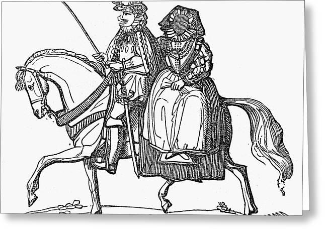 Sidesaddle Greeting Cards - HORSEBACK RIDERS, c1610 Greeting Card by Granger