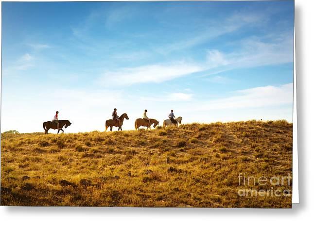 Animal Tracks Greeting Cards - Horseback Riding Greeting Card by Carlos Caetano