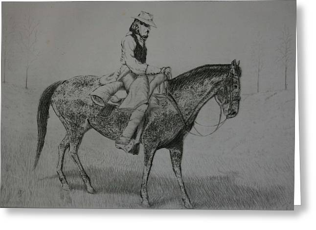 Stacy Bottoms Greeting Cards - Horseman Greeting Card by Stacy C Bottoms