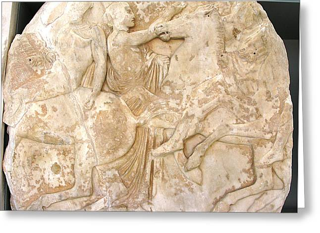 Greek Friezes Greeting Cards - Horsemen Greeting Card by Andonis Katanos