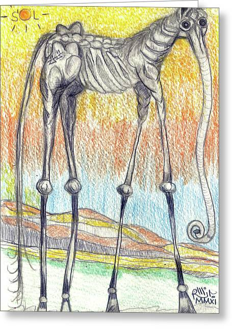 Horse Images Mixed Media Greeting Cards - Horsephant Greeting Card by Robert Wolverton Jr