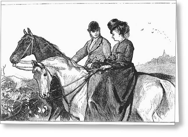Sidesaddle Greeting Cards - Horseriders, 1873 Greeting Card by Granger