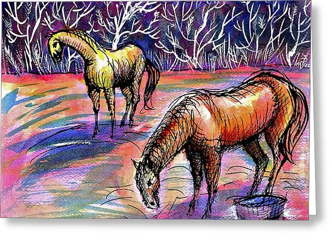 Lanscape Drawings Greeting Cards - Horses autumn morning Greeting Card by Ion vincent DAnu