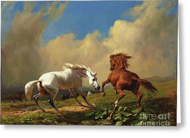 Swiss Paintings Greeting Cards - Horses Balking at Storm Greeting Card by Pg Reproductions