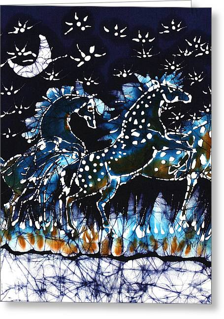 Equine Tapestries - Textiles Greeting Cards - Horses Frolic on a Starlit Night Greeting Card by Carol Law Conklin