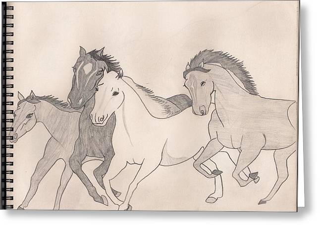 Loose Pastels Greeting Cards - Horses on the loose Greeting Card by Mariam Ahmad