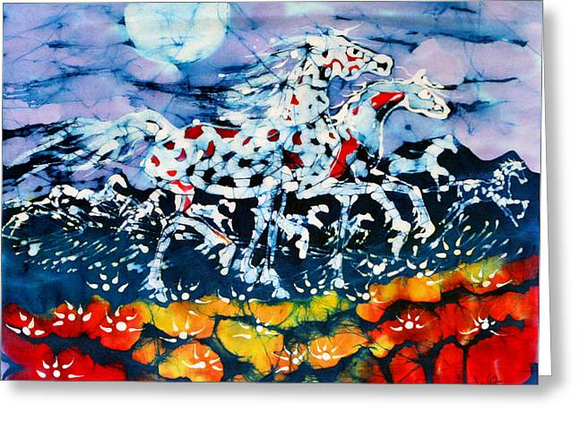 Outside Tapestries - Textiles Greeting Cards - Horses Prance On Flower Field in Summer Moon Greeting Card by Carol Law Conklin