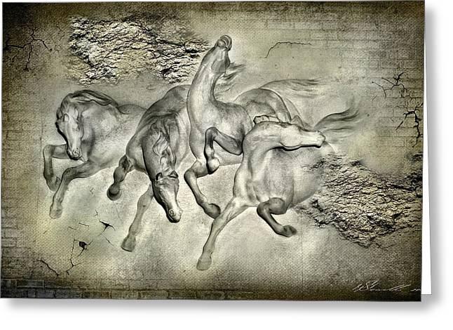 Brick Mixed Media Greeting Cards - Horses Greeting Card by Svetlana Sewell