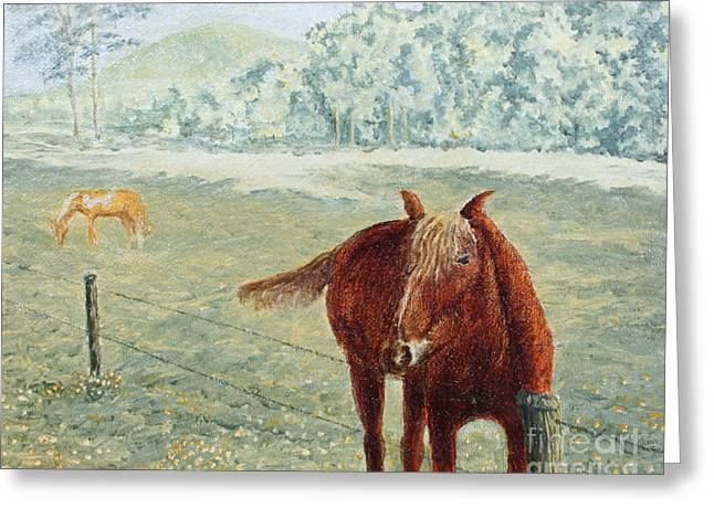 Smoky Paintings Greeting Cards - Horses Greeting Card by Todd A Blanchard