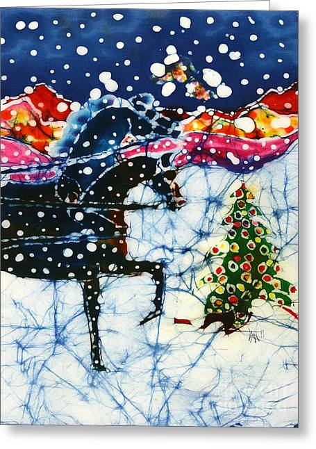 Snow Scenes Tapestries - Textiles Greeting Cards - Horses Trot to the Christmas Tree Greeting Card by Carol Law Conklin