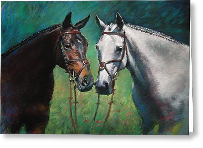 White Horse Pastels Greeting Cards - Horses Greeting Card by Ylli Haruni