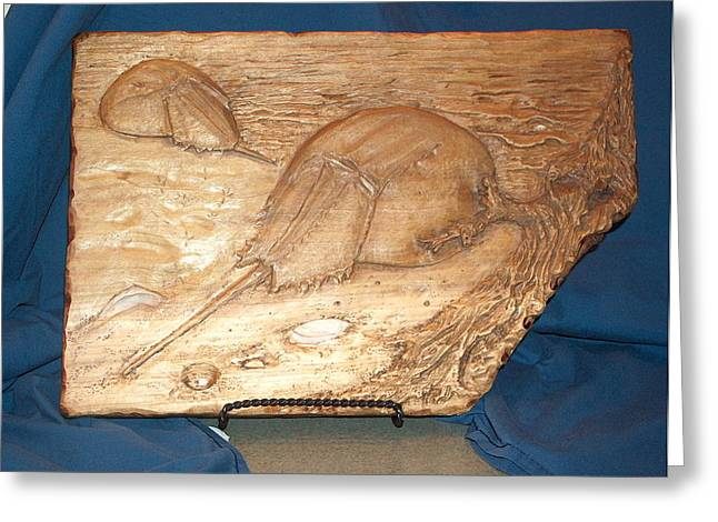 Framed Reliefs Greeting Cards - Horseshoe Crabs Greeting Card by Doris Lindsey