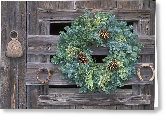 Hondo Greeting Cards - Horseshoes And Holiday Wreath On Arroyo Greeting Card by Rich Reid