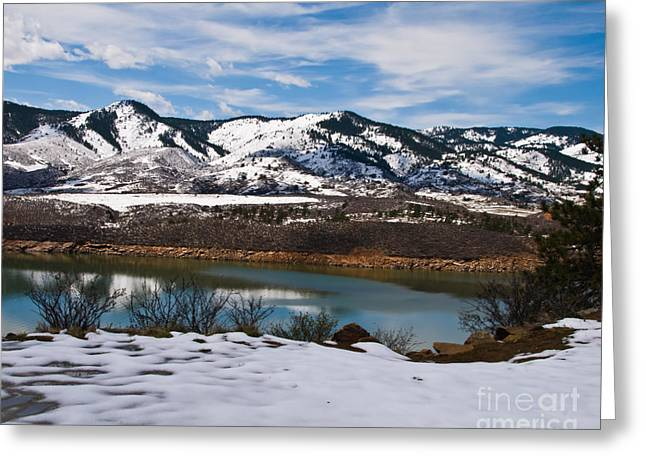 Horsetooth Reservoir Winter Scene Greeting Card by Harry Strharsky