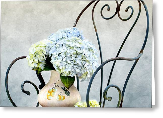 Floral Still Life Greeting Cards - Hortensia Flowers Greeting Card by Nailia Schwarz
