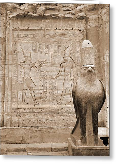 Horus Temple Greeting Card by Donna Corless