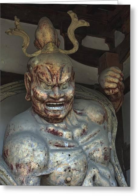Statue Portrait Photographs Greeting Cards - Horyu-ji Temple Gate Guardian - Nara Japan Greeting Card by Daniel Hagerman