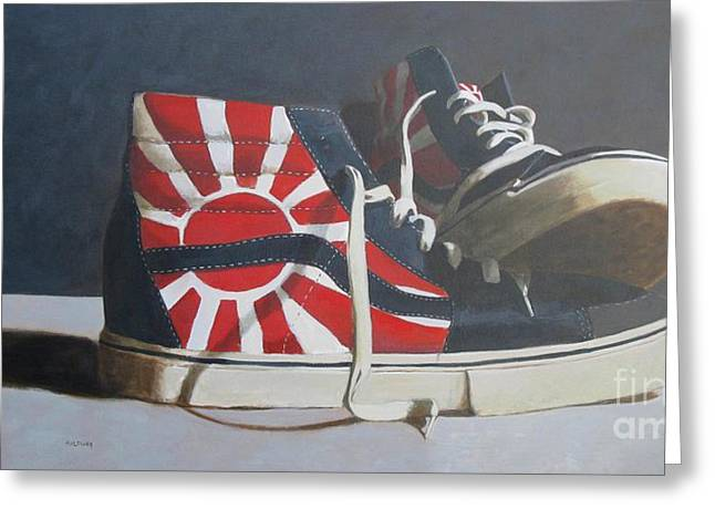 Skaters Greeting Cards - Hosoi Vans Greeting Card by John Holdway