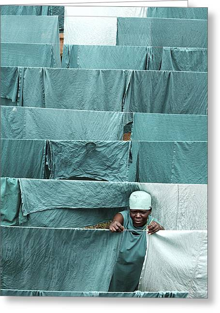 African Saint Greeting Cards - Hospital Laundry Greeting Card by Mauro Fermariello