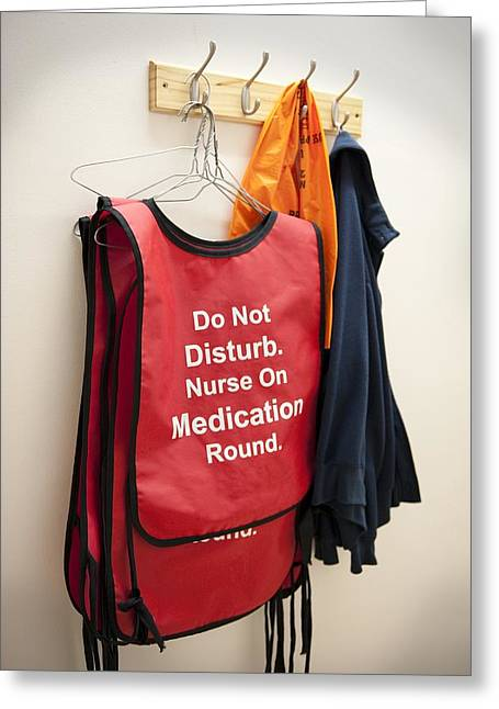 Medication Greeting Cards - Hospital Nurse Warning Jacket Greeting Card by Lth Nhs Trust