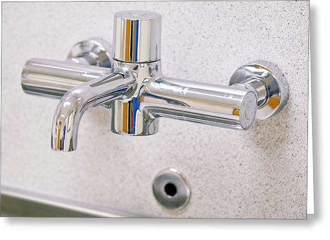 Scrubbing Greeting Cards - Hospital Tap Greeting Card by Lth Nhs Trust
