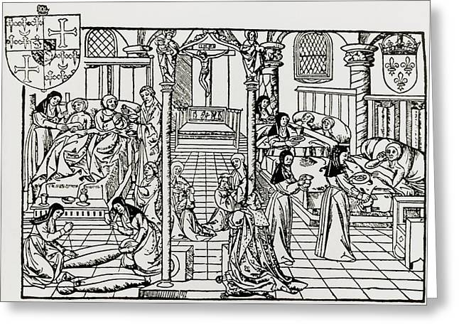 Historical Images Greeting Cards - Hospital Ward In Sixteenth Century Greeting Card by Dr Jeremy Burgess.