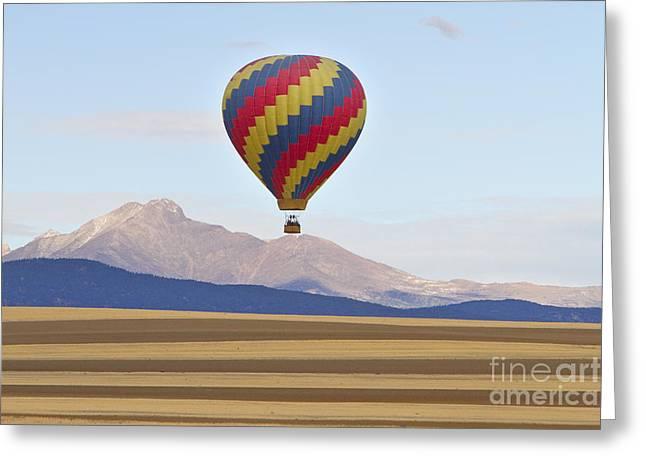 James Bo Insogna Greeting Cards - Hot Air Balloon and Longs Peak Greeting Card by James BO  Insogna
