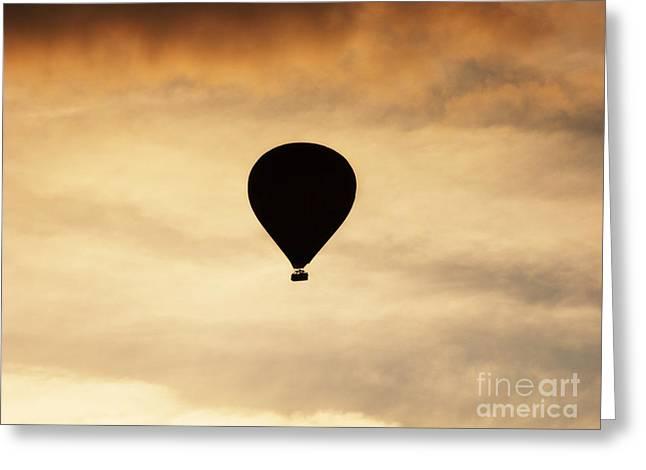 Photgraphy Greeting Cards - Hot air balloon at dusk Greeting Card by Pixel Chimp