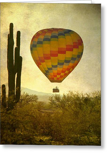 Phoenix Prints Greeting Cards - Hot Air Balloon Flight Over the Southwest Desert Greeting Card by James BO  Insogna