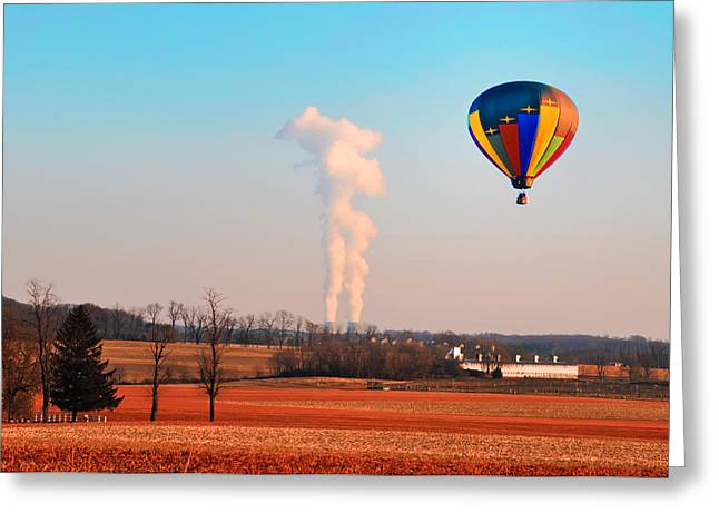Power Plants Digital Art Greeting Cards - Hot Air Balloon Near Limerick Pa Greeting Card by Bill Cannon