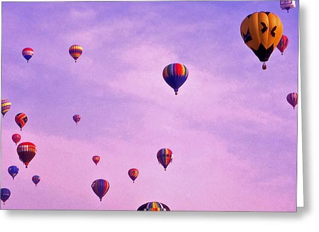 Hot Air Balloon Race - 1 Greeting Card by Randy Muir