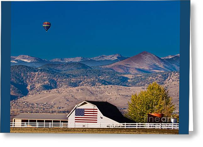 Hot Air Balloon With Usa Flag Barn God Bless The Usa Greeting Card by James BO  Insogna