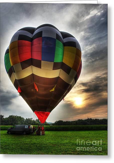 Ascending Risen Greeting Cards - Hot Air Ballooning at Dusk - Hot Air Balloon  Greeting Card by Lee Dos Santos