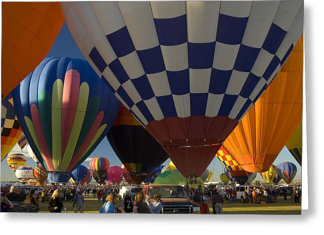 In The Corner Greeting Cards - Hot Air Balloons Fly In A Hot Air Greeting Card by Ralph Lee Hopkins