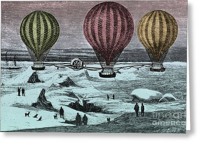 Color Enhanced Greeting Cards - Hot Air Balloons Greeting Card by Photo Researchers