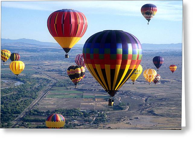 Balloon Fiesta Greeting Cards - Hot Air over Albuquerque Greeting Card by Dale Hart