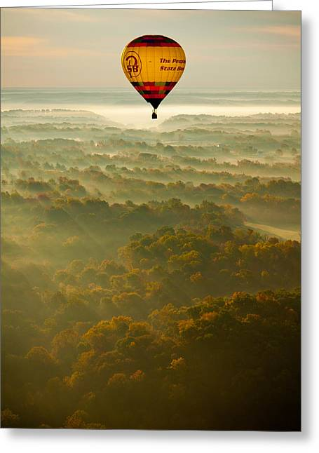 Bloomington Greeting Cards - Hot Aire Balloon Sunrise Greeting Card by Anthony Doudt