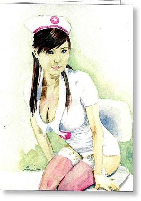 Hot Nurses Greeting Cards - Hot Nurse Greeting Card by Alban Dizdari