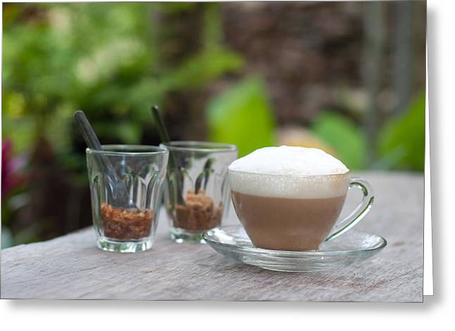 Capuccino Greeting Cards - Hot Capuccino Coffee Greeting Card by Ngarare