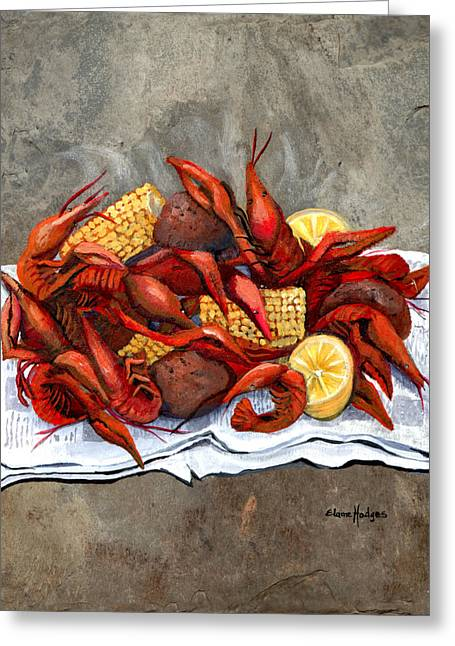 Creole Greeting Cards - Hot Crawfish Greeting Card by Elaine Hodges