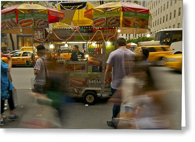 Taxi Stands Greeting Cards - Hot Dog Stand Blur Greeting Card by William  Carson Jr