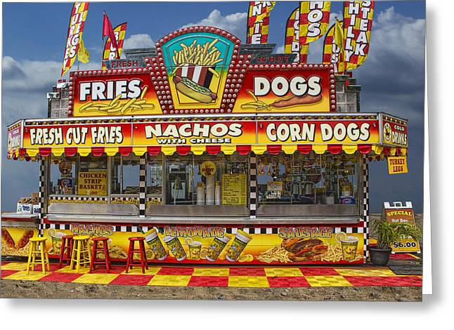Fries Greeting Cards - Hot Dog Vendor Stand Greeting Card by Randall Nyhof