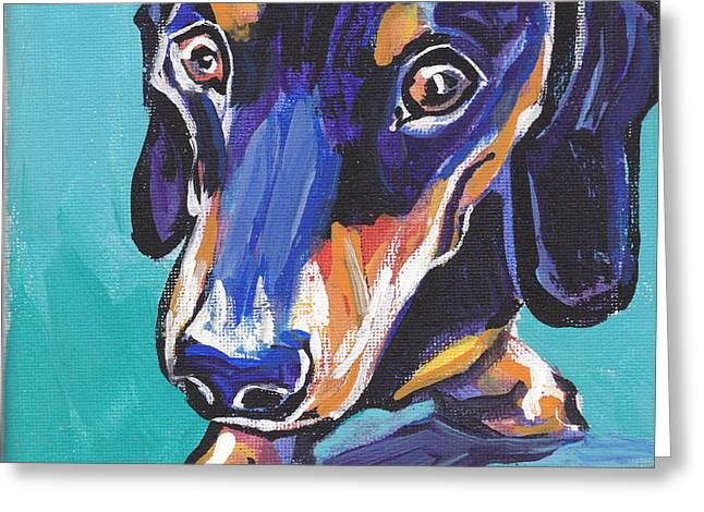 Dachshund Art Greeting Cards - Hot Dox With Relish Greeting Card by Lea
